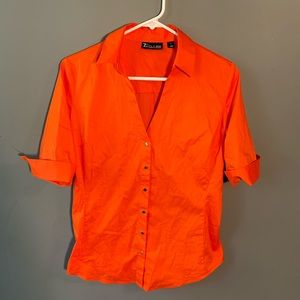 7th Ave New York & Co Snap Up Shirt Bright Orange